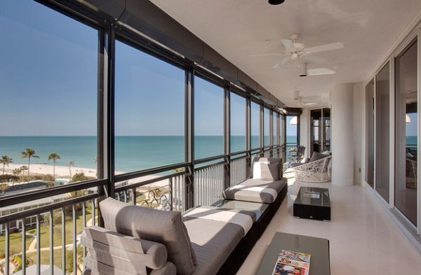 Modern daybeds relaxing ocean views by Joie Wilson