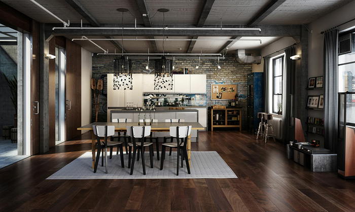 Modern black chandeliers industrial loft