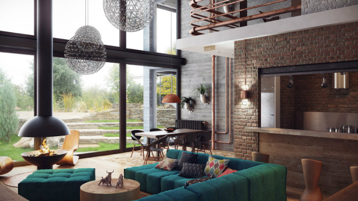 How to use industrial style in a spacious loft how to use industrial style in a spacious loft How to use industrial style in a spacious loft home and decoration How to use industrial style in a spacious loft green modular sofa