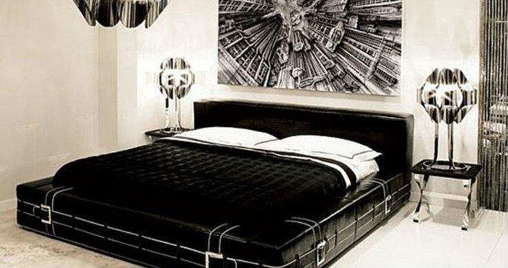 black white bedroom