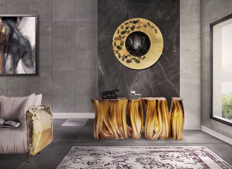 luxury interiors luxury interiors Luxury Interiors with Gilded Pieces of Furniture metamorphosis mirror by boca do lobo
