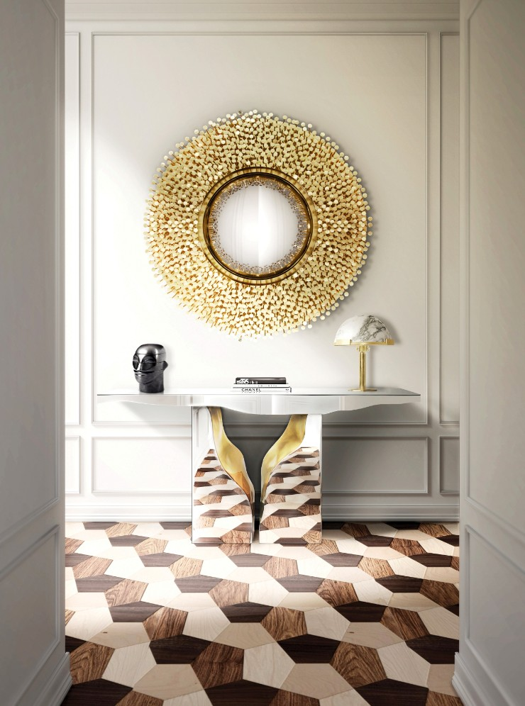 luxury interiors Luxury Interiors with Gilded Pieces of Furniture robin mirror hr