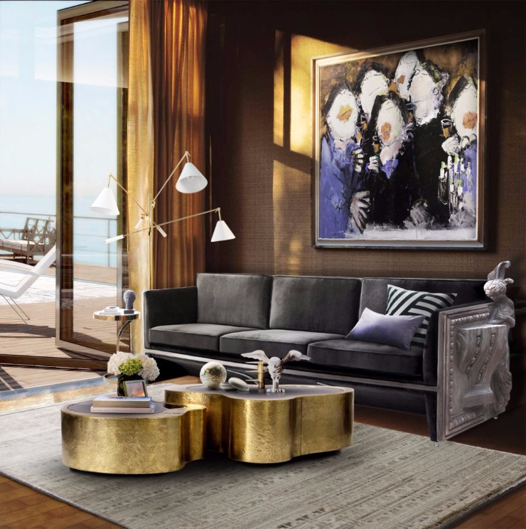 luxury interiors Luxury Interiors with Gilded Pieces of Furniture wave cover center table by boca do lobo